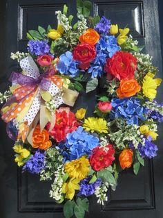 XL Summer Wreath for Front Door  Spring Summer Wreath Spring