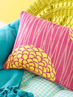 Loving the pink and yellow!!  Summer Pillows via Better Homes & Gardens