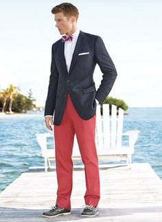 Love a pair of Nantucket reds with a navy jacket!