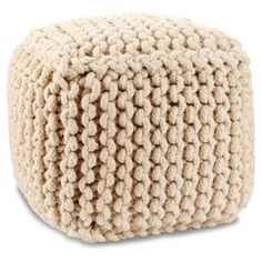 Check out this item at One Kings Lane! Vivian Knitted Pouf, Beige