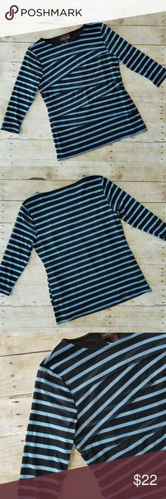 Dana Buchman blue striped blouse Layered stripe blouse, 3/4 length sleeves, very nice gently used condition with no flaws, see pictures for details. B185 Dana Buchman Tops Blouses