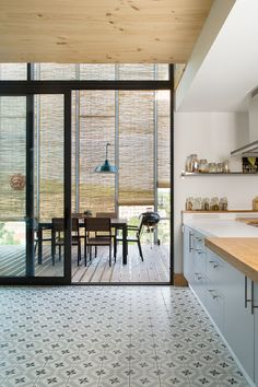 Solar Shading and Smart Design Shape Energy-Efficient Barcelona Home Kitchen Interior, Kitchen Design, Kitchen Decor, Modern Wooden House, Prefabricated Houses, Best Flooring, Home And Living, Home Kitchens, Architecture Design