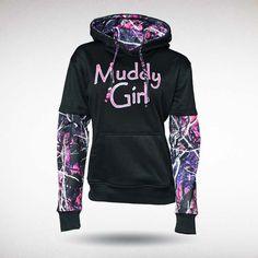 58502fd65ae Camo Ladies · Hoodies · Moonshine Muddy Girl Camo Black Pullover Hoody Pink  Camo Hoodie