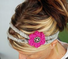 KNITTED HEADBAND..not a fan of that flower, but the idea is cute.