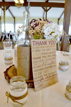 Bonfires and Wine: Brie's Rustic Wedding {Burlap & Lace} Rustic Wedding Favors, Wedding Table, Fall Wedding, Wedding Reception, Our Wedding, Dream Wedding, Wedding Burlap, Trendy Wedding, Reception Ideas