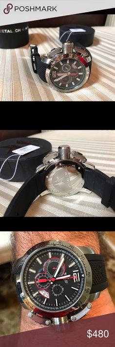 METAL.CH Chronosport Quartz Watch 47mm Stainless Case. Textured rubber strap..stainless buckle Accessories Watches