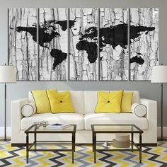 51 best watercolor world map canvas print images on pinterest large wall art black countries divided world map on white embossed wall canvas print mygreatcanvas gumiabroncs Gallery