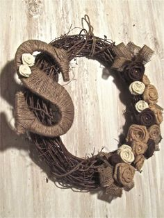 Burlap Wreath - Ribbon and Pearl Accent and Twine Initial - Monogram Wreath