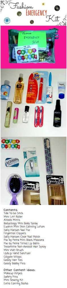 """A smart teen girl is a prepared teen girl, so gift this  simple DIY fashion emergency kit to save time and headaches! Perfect for birthdays and holidays! Can store in car, locker, purse, or overnight bag.  Optional: """"Ultimate Fashion Emergency"""" Gift Card  All contents pictured are from Target. The total cost was a little pricey capping at around $60 without gift card. Thrifty clearance and smart couponing would reduce cost significantly."""