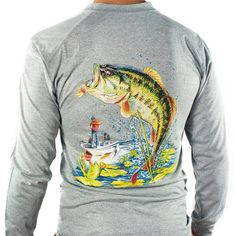 All-American Fishing Performance Dri Fit Comfort & Cooling - Men's Long Sleeve Bass Gray