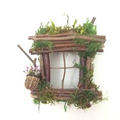 Garden Fairy Window Handcrafted by Olive ~ always one of a kind Fairy Window includes battery operated LED soft gold light ~ beautifully illuminates and can be used for indoor and outdoor use. Simply to install, one small brass nail included! Find Olive Nature Folklore under the
