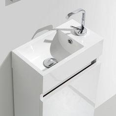 Meuble lave main salle de bain design SIENA largeur 40 cm chªne