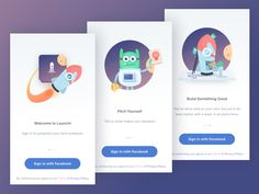 Launchr App Onboarding designed by Ghani Pradita for Paperpillar. Ui Design Mobile, App Ui Design, User Interface Design, Game Design, Flat Design, Splash Screen, App Design Inspiration, Mobile App Ui, Screen Design