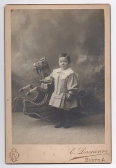 CABINET-CARD-PHOTOGRAPH-YOUNG-CHILD-amp-ANTIQUE-TOY-ROCKING-HORSE-c1880