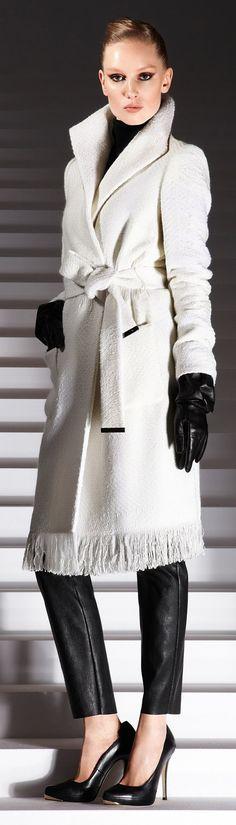 ❀ ESCADA FW 2012 . #blackandwhite #outerwear #statement . escada.com