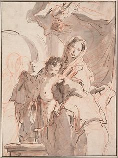 Giovanni Battista Tiepolo Madonna and Child with Saint, c. Pen and brown ink, brown-gray wash, over preparatory sketch in red chalk Ink Pen Drawings, Cool Drawings, Drawing Sketches, Rodin Drawing, Painting & Drawing, Figure Sketching, Figure Drawing, Grafik Art, Portrait Sketches