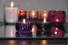 DIY purple sequin tealights candles
