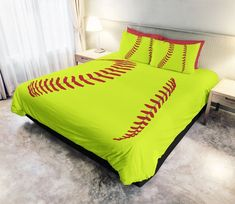 What is a Duvet Cover? A Duvet Cover is a protective case for your comforter, similar to how a pillow case works to keep your pillow clean, usually with a snap or zippered closure at the bottom for easy removal. I do not make comforters or inserts for your Duvet Cover, so if you don't Softball Room Decor, Softball Crafts, Softball Shirts, Softball Mom, Softball Quotes, Fastpitch Softball, Softball Cheers, Softball Pitching, Softball Stuff