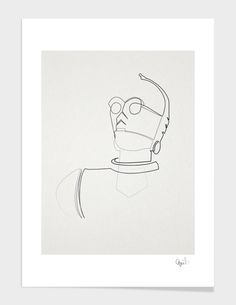"""""""One Line C3PO"""", Numbered Edition Affiches d'art by quibe - From 25,00€ - Curioos"""