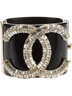 Chanel Vintage Crystal Logo Cuff - I have this piece in white. Classic Chanel styling, goes with jeans or dressed up! Jewelry Accessories, Fashion Accessories, Fashion Jewelry, Estilo Coco Chanel, Gabrielle Bonheur Chanel, Crystal Logo, Chanel Fashion, Chanel Chanel, Chanel Black