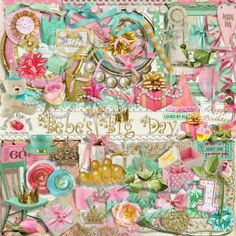 A shabby chic style birthday themed scrapbook collection from Raspberry Road Designs.