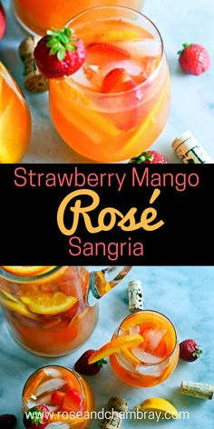 in a Glass: Strawberry Mango Rosé Sangria The perfect sangria recipe with rosé, strawberries and mangoes!The perfect sangria recipe with rosé, strawberries and mangoes! Mango Sangria, Mango Cocktail, Rose Sangria, Sangria Wine, Strawberry Cocktails, White Peach Sangria, Moscato Sangria, Sangria Cocktail, Strawberry Summer