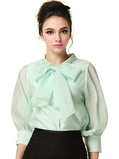 1baea132be234d Choies Women s Business Plain Round Neck 3 4 Sleeve Bow Front Organza  Blouse Shirt at Amazon Women s Clothing store