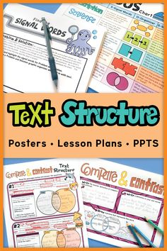 A text structure unit that breaks down the skill of determining and finding text structure into 7 lessons that are scaffolded. Detailed Lesson Plan with Powerpoint, activities, posters, and reading material! Reading Lessons, Reading Strategies, Reading Activities, Reading Skills, Teaching Reading, Reading Comprehension, Kindergarten Learning, Math Lessons, Anchor Charts