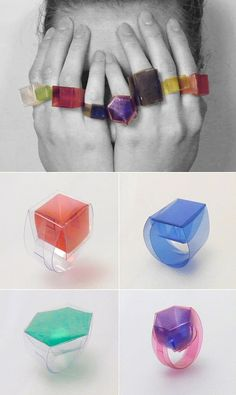 "Czech jeweller Tereza Pavúčková. fold-it-yourself plastic ""Compo"" box rings."