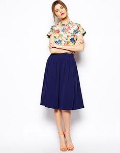 Image 1 ofASOS Woven Midi Vintage Skirt