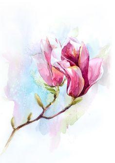 Image via We Heart It https://weheartit.com/entry/114507639/via/13802995 #art #blossom #drawing #flower #magnolia #painting #tree #tulip