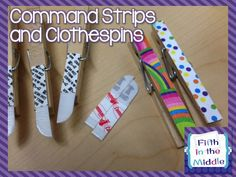 Cut command strips in half to use them on the back of clothespins. Great for hanging student work, and they remove cleanly (giveaway on the blog post too!).