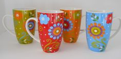 "Maxwell & Williams Flower Power porcelain mug set d/w micro safe 5"" #MaxwellWilliams"