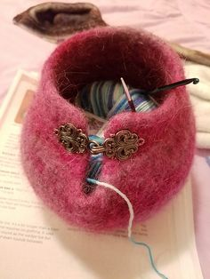 Crochet Patterns Needles Ravelry: Project Gallery for Small Yarn Bowl pattern by Molly Conroy Felted Wool Crafts, Yarn Crafts, Felt Crafts, Crochet Yarn, Knitting Yarn, Knitting Patterns, Knitting Needles, Ravelry, Fabric Manipulation