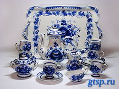 Gzhel (Гжель) - russian art. Original ceramic dishes and kitchen utensils with the intricate patters in blue and white