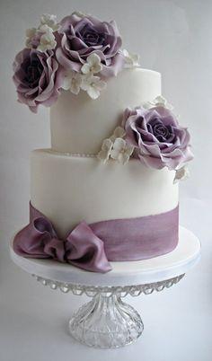 Lilac roses wedding cake   ~ all edible