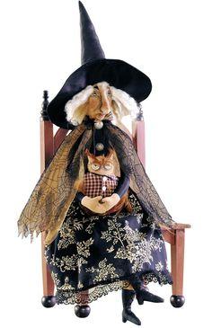 "Folk Art Primitive ""Orma Witch w/ Owl"" Doll Halloween Decor by Joe Spencer Halloween Doll, Holidays Halloween, Spooky Halloween, Vintage Halloween, Halloween Crafts, Halloween Decorations, Halloween Designs, Halloween Porch, Halloween Stuff"