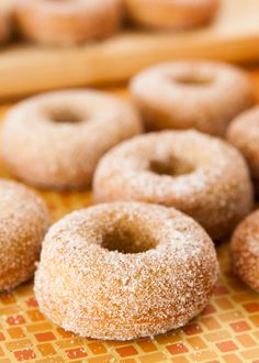 Baked Pumpkin Donuts coated in cinnamon sugar! This easy homemade recipe makes 1 dozen soft, fluffy donuts that are ready in 30 minutes! One of the BEST Fall Pumpkin dessert recipes! Pumpkin Coffee Cakes, Sugar Pumpkin, Baked Pumpkin, Pumpkin Dessert, Donut Recipes, Cake Recipes, Dessert Recipes, Desserts, Cinnamon Roll Cookies