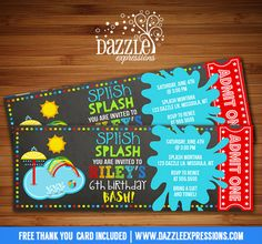 Printable Pool Party Splash Pad Chalkboard Ticket Birthday Invitation | Water Park Invite | Playground | Beach Ball | Splish Splash | Waterpark | Indoor Pool | Swimming | Kids Summer Water Party | FREE thank you card included | Printable Matching Party Package Decorations Available! Banner | Signs | Labels | Favor Tags | Water Bottle Labels and more! www.dazzleexpressions.com