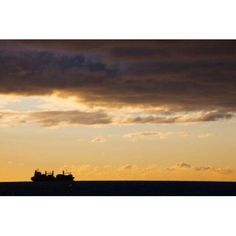 Silhouette of a ship in the sea at dawn Sete Herault Languedoc-Roussillon France Canvas Art - Panoramic Images (36 x 24)