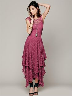 Boho People hippie Style Asymmetrical embroidery Sheer lace dresses double layered ruffled trimming low V back (No lining)-in Dresses from Women's Clothing & Accessories on Aliexpress.com | Alibaba Group