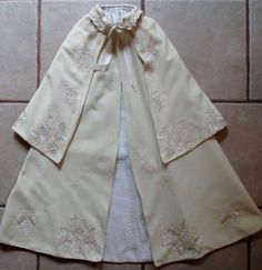 Victorian Infant's Child's Cape Cloak- Embroidered Wool Flannel- Christening