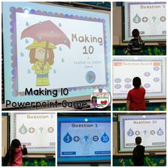 This game is perfect for rainy days, literally! Have fun practicing making ten with this interactive game. As the teacher, you play against your students, only gaining points if students say the wrong answer. It's an easy win for your students, but you're reviewing and having fun at the same time! There are 20 questions and you just click on each question to go to it.
