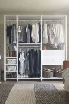 Visit IKEA online to browse our open wardrobe systems range and find plenty of open storage systems ideas and inspiration. Shop online or in-store today. Ikea Closet, Ikea Catalog, Bedroom Storage, Standing Closet, Ikea Storage, Small Bedroom, Small Space Storage, Open Storage, Closet Design