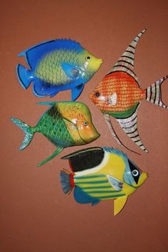 (4)pcs, TROPICAL BATHROOM DECOR, TROPICAL FISH WALL HANGINGS, SEA LIFE DECOR