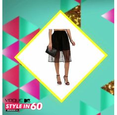 Want to look hip and hot?! Team up a loose white top with a black partly sheer midi skirt!  For more style tips, watch Vogue Eyewear MTV #Stylein60: mtvindia.com/style