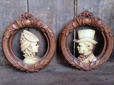 Vintage Wall Plaques Set of 2 Small Round Brown by StylishPiggy, $12.00