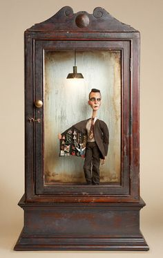 "Tom Haney...Dubious, 2008, automata, handmade electronic moving sculpture with found materials, 29"" x 16"" x 11"" (THAN103)"