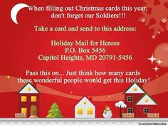 Address to mail Xmas cards to our soldiers