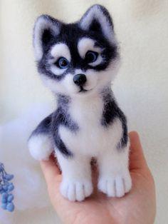 Hasya siberian husky puppy dog felted miniature by alenamordvinova